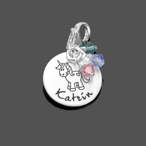 Charm mit Gravur EINHORN 925 Silber Namensanhänger Unicorn