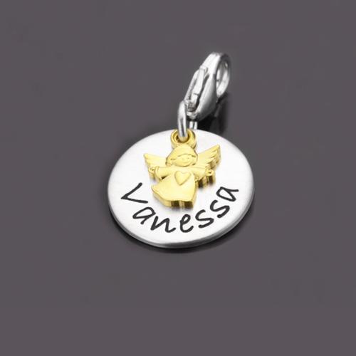 GOLDENGELCHEN 925 Silber Charm, Namensschmuck, Anhänger mit Name