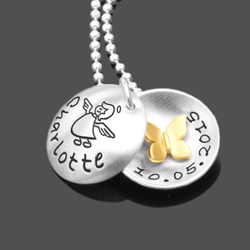 Kinderkette mit Namensgravur SPRINGTIME GOLD 925 Silbermedaillon