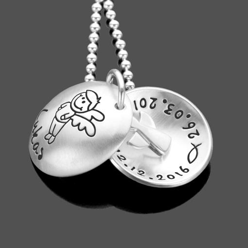 Taufgeschenk SCHUTZENGELCHEN 2.0 Junge Engel 925 Silberkette