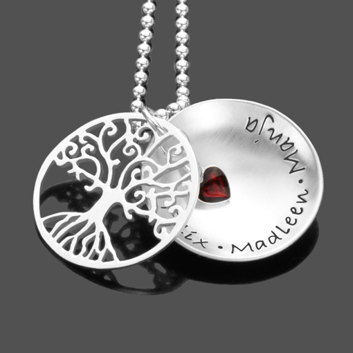 Namenskette TREE OF LOVE RED HEART 925 Silberkette mit Gravur