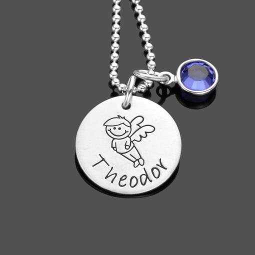 Namenskette SCHUTZENGELCHEN 2.0 Junge Engel 925 Silberkette Gravur
