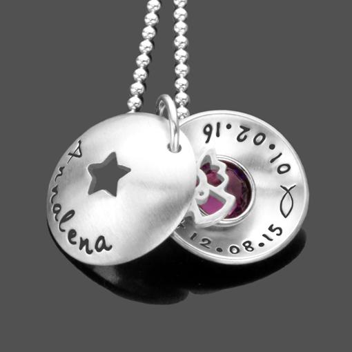 Taufkette STERNCHEN ENGEL 925 Silber Namenskette mit Gravur