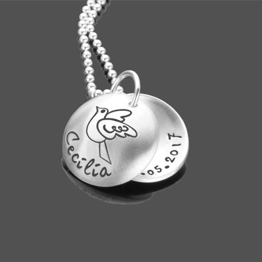 Taufkette FEET 925 Silber Namenskette mit Gravur Kinderkette