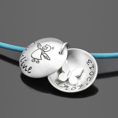 SPRINGTIME 925 Silber/Leder Kindermedaillon