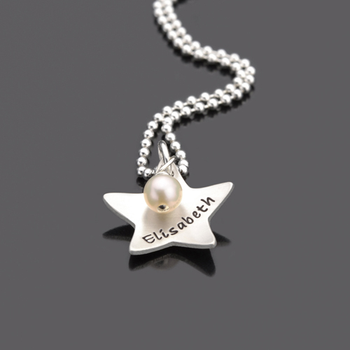 STERNSCHNUPPE 925 Silber, Kinderkette mit Namen