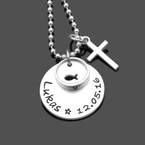 Taufkette GESEGNET FISCH 925 Silber Namenskette Taufgeschenk Ring Kreuz
