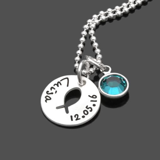 Taufkette KUMBAYA CRYSTAL 925 Silber Namenskette Taufe Gravur