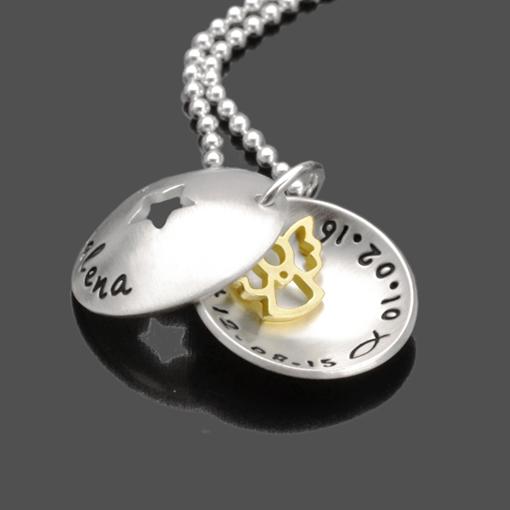 Taufkette STERNCHEN ENGEL GOLD 925 Silber Namenskette mit Gravur