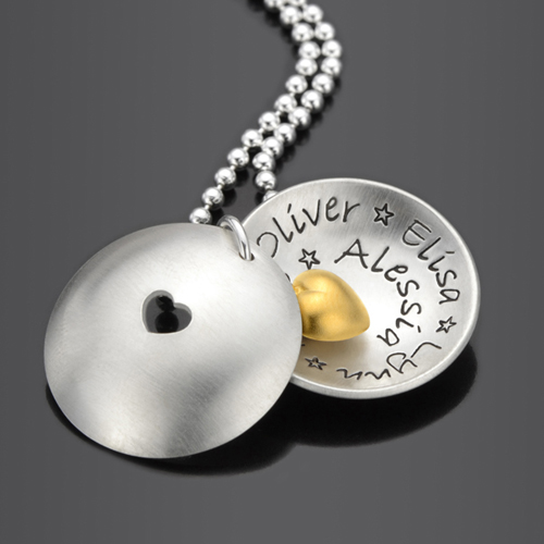 IN MY HEART GOLD Kette mit Namen, Spruch, Gravur, Familie, 925 Silber
