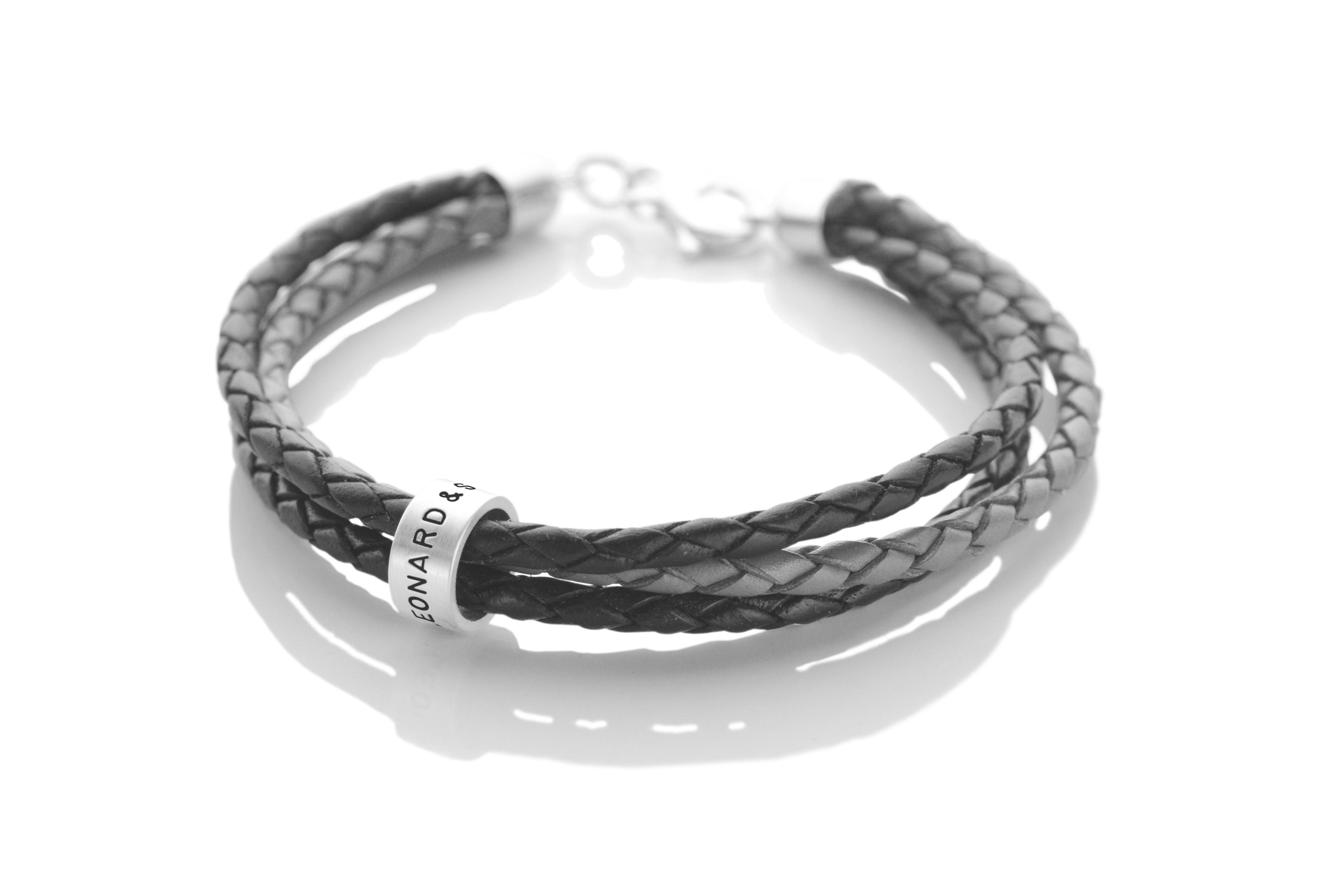 lederarmband 3 in 1 roll 925 silber armband namensgravur m nnerschmuck. Black Bedroom Furniture Sets. Home Design Ideas