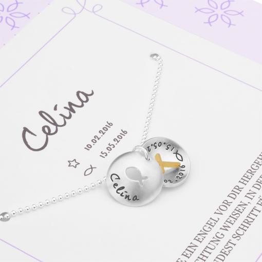 ICHTHYS 2.0 KREUZ 925 Silber Taufkette mit Geschenkkarton Geschenkbox