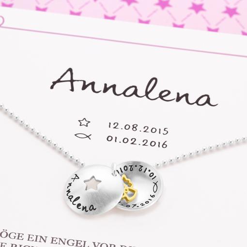 Taufkette Geschenkbox STERNCHEN ENGEL 925 Silber Taufschmuck Gravur