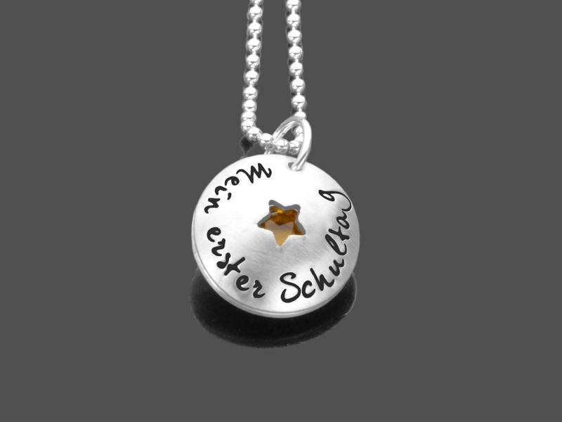 Geschenk Schulanfang Mein 1schultag 925 Silberkette Mit Gravur