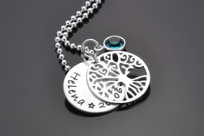 Taufbäumchen 925 Silberkette Namensschmuck Für Kinder Zur Taufe
