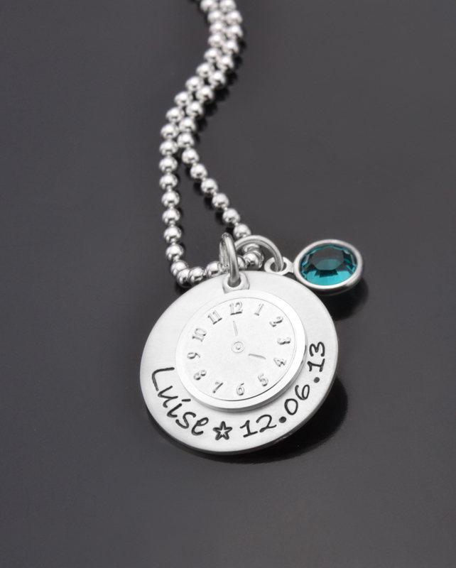 DATE OF BIRTH 925 Silberkette Taufkette Taufuhr Namenskette Geschenk Taufe Baby